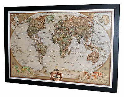 "Framed World Map - National Geographic Executive - 40"" x 28"" Black Frame"
