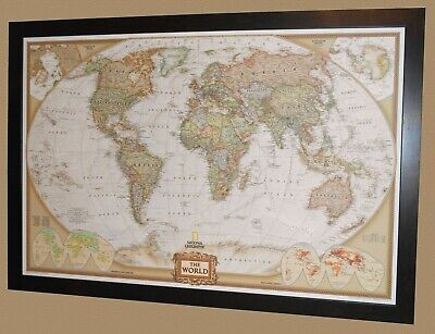 "***MAGNETIC**** Framed World Map - National Geographic Executive - 40"" x 28"""