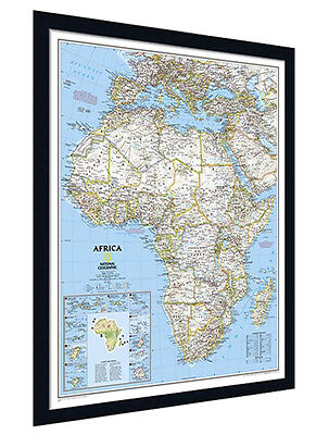 "Framed Africa Map - National Geographic Classic - 26"" x 33"""