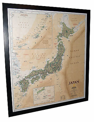 "Framed Japan Map - National Geographic Executive - 27"" x 31"""