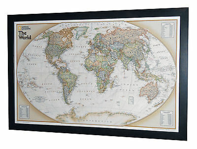 "Framed World Map - National Geographic World Explorer Executive - 34"" x 22"""