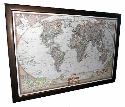 "Framed World Map - National Geographic Executive - 40"" x 28"""
