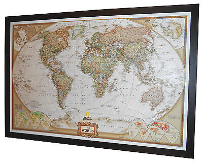 "Framed World Map - National Geographic Executive 48"" x 33"" Brown wood frame"