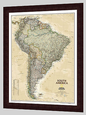 "Framed South America Map - National Geographic Executive - 26"" x 32"""