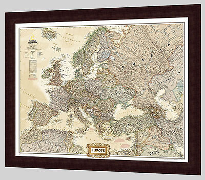 "Framed Europe Map - National Geographic Executive - 33"" x 27"""