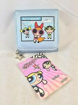 Powerpuff Girls Embroidered Blue Wallet COIN Purse BUBBLES BUTTERCUP BLOSSOM