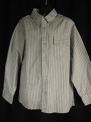 BNWT Boys Sz 8 YCC Designer Grey Stripe Long Sleeve Semi Formal Cotton Shirt