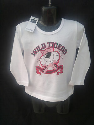 BNWT Girls Sz 0 Minipie Tigers Logo White Stretch Long Sleeve Top