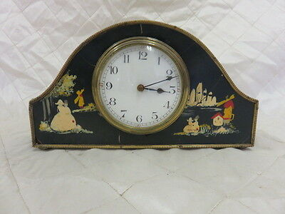 Clock Art Deco Chinoiserie Hand Painted Laquer Made in France