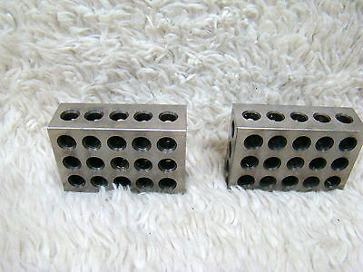 "Set of Two 1-2-3 Precision Blocks 23 Holes 1"" x 2"" x 3"", Machinist/Metalworking"