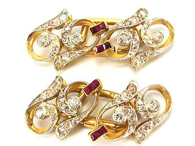 1,35 ctw Diamond & Ruby Antique Cufflinks 18k and Platinum on Top. Circa 1900