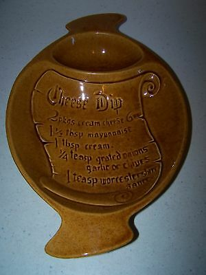 California Pottery Cheese Dip Tray / Bowl With Receipe