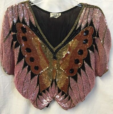 Vintage Silk ButterflyTop Sequined Beaded Black Mauve Rustic Swee Lo Poncho