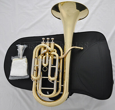 Professional Gold Bb Baritone Piston horn Rose brass leadpipe with case