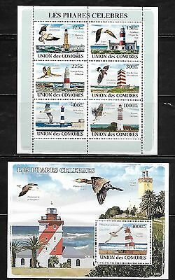 Comoro Islands 1033-34 Birds and Lighthouses Mint NH