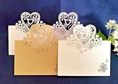 50/100 Wedding Party Lasercut Table Place Cards, White Ivory Silver Gold Purple