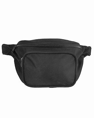 MIL-TEC NEW Black Canvas WAIST PACK Regular Size 3 Pouch Pocket Belt Carry Bag