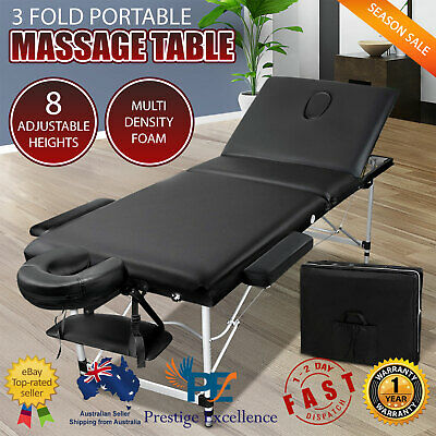 Aluminium Black Massage Table Bed Portable 3 Fold Beauty Therapy Waxing Chair