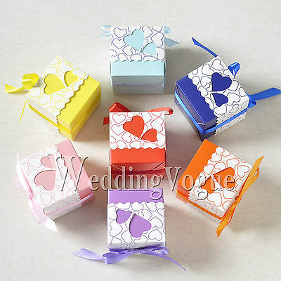 50 / 100 / 200pcs Heart-shaped Window Wedding Favor Gift Boxes Ribbon Candy Bags