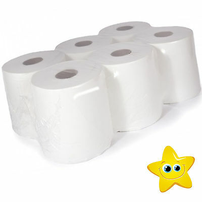 (8WCF) 48 rolls(8 PACKS) x White Centrefeed Embossed 2ply Wiper Paper Towel