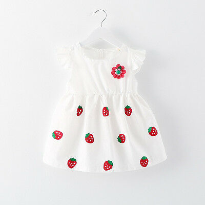 Baby Girl Kids Newborn Toddler Infant White Dress Clothing Skirt Party Dresses