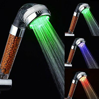 Negative Ionic Filter Chlorine LED with Changing Water Temp Spray Shower Head