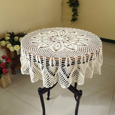 Vintage Handmade Crochet Placemat Tablemat Floral Hollow Round Table Cloth Doily