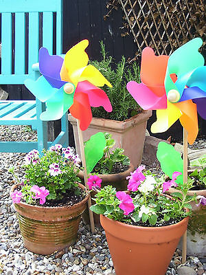 2 Large Wooden Stake Garden - Beach Flower Windmill Wind Mobile Ornament Flowers