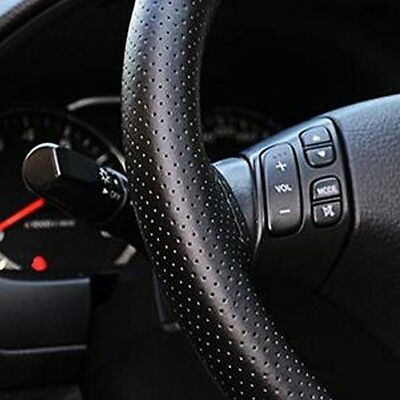 1*Car Steering Wheel Cover Case Protector PU leather Black Steering Wheel Cover