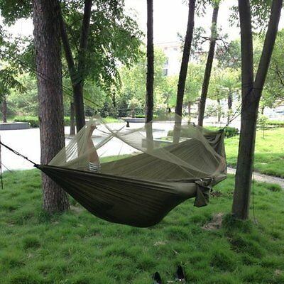 Parachute Fabric Hammock Hanging Bed With Mosquito Net For Camping Army Green UK