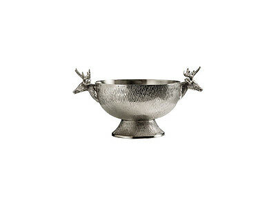 Deer Stag Punch Ice Decorative Dinner Party Table Centerpiece Bowl Nickel Silver