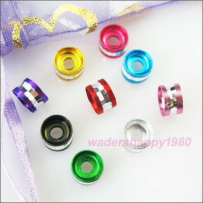 100 New Charms Mixed Diamond Cut Aluminum Rondelle Spacer Beads 6mm