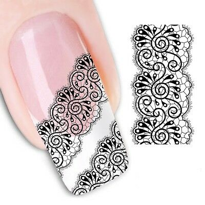Nail Art Water Decals Transfer Stickers Lace (XF1340)