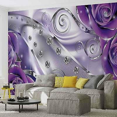 WALL MURAL Purple Floral Diamond Abstract Modern XXL PHOTO WALLPAPER (2497DC)