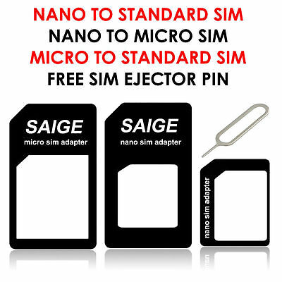 4 IN 1 Pack Nano To Micro & Standard SIM Card Adapter For Basic & Smart Phones