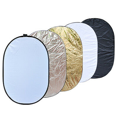 Light Reflector - Oval 60 x 90cm - 5 in 1 Collapsible Multi - Photo Studio Video