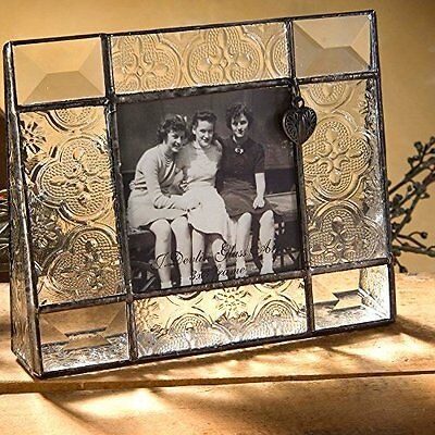 Unique Small Vintage Style Textured Beveled Clear Stained Glass Picture Frame