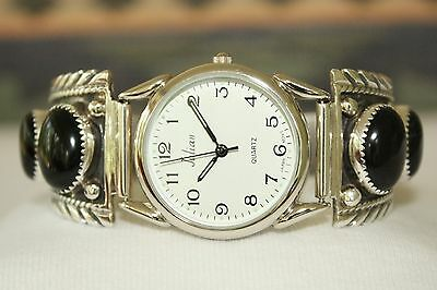 Signed Navajo Sterling Silver Mens 6 Stone Onyx Watch