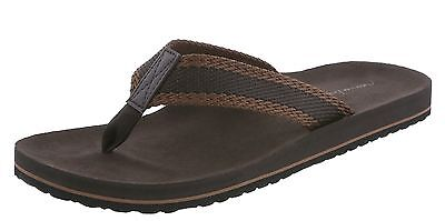 MENS BROWN AMERICAN EAGLE FLIP FLOPS SANDALS CANVAS/LEATHER SIZE 14 or 15 NEW