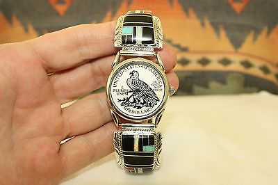 Signed Navajo Sterling Silver Mens Inlay Watch