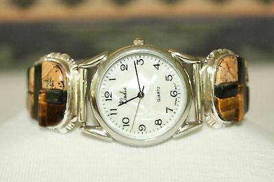 Signed Navajo Sterling Silver Cobblestone Inlay Mens Watch