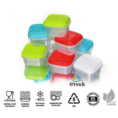 Plastic Mini Storage Boxes Baby Weaning Feeding Freezer Food Pots Containers 8pc