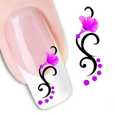 Nail Art Stickers Water Decals Transfers Pink Flowers (XF1464)