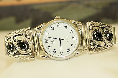 Signed Navajo Sterling Silver Snake & Onyx Mens Watch