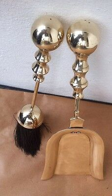 Vintage Brass Fireplace Companions Accessories Tools, Shovel & Brush