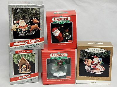 Lot of 5 Hallmark Lighted Ornaments 1980's