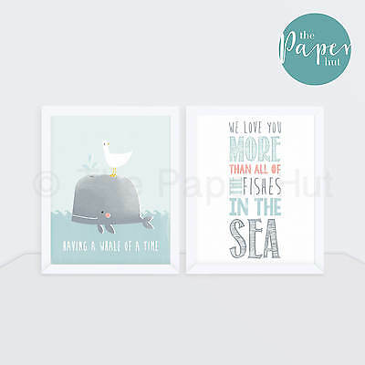 "Boy's Nursery Art Print Blue 8"" x 10"" Two Pack 