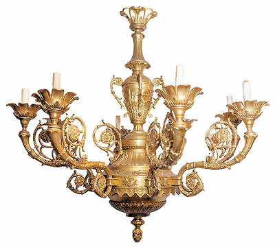 Antique Gilt Bronze Neoclassical Regency Georgian Style Chandelier