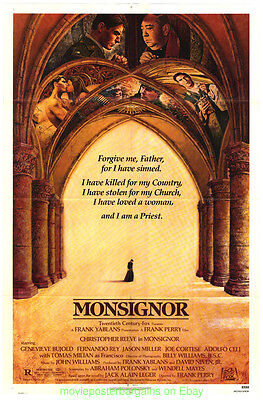 MONSIGNOR MOVIE POSTER Folded 27x41 One Sheet 1982 CHRISTOPHER REEVES