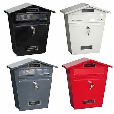 Steel Post Box Postbox Lockable Letter Mail  Home Wall Mounted Discounted New